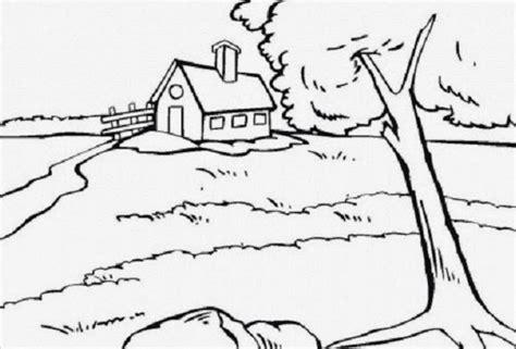 mewarnai gambar pemandangan rumah desa bahasa pendidikan bahasa pendidikan