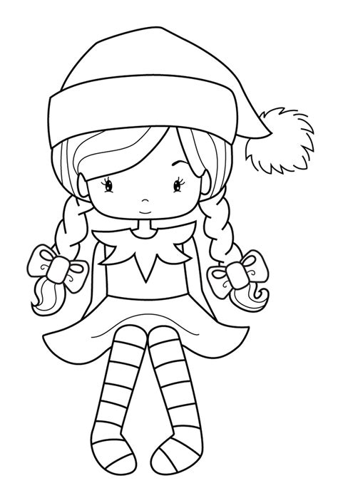 Printable Elf Girl | girl elf on the shelf coloring pages