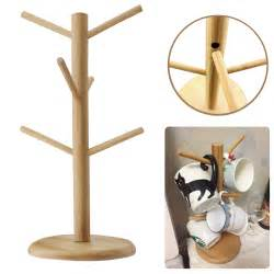 wooden mug tree coffee tea cup hanging rack stand for