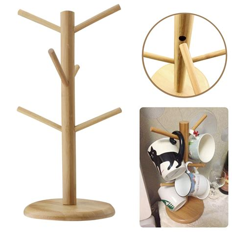 Coffe Mug Rack by Wooden Mug Tree Coffee Tea Cup Hanging Rack Stand For Kitchen Home Decorate Ebay