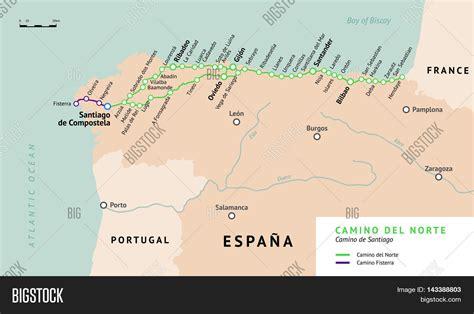 camino santiago map camino norte map camino de vector photo bigstock
