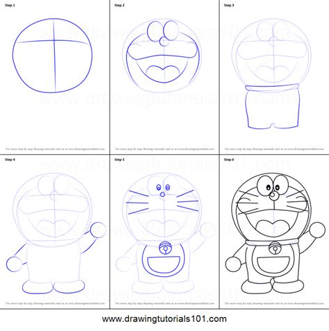 how to draw doraemon printable step by step drawing sheet