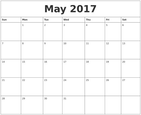 May 2017 Calendar Word   weekly calendar template