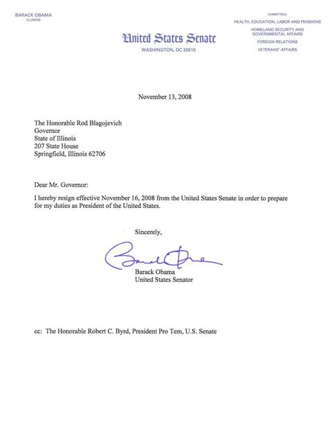 Resignation Letter To Withdraw Mail File Obama Resignation From Us Senate 2008 Jpg Wikimedia Commons