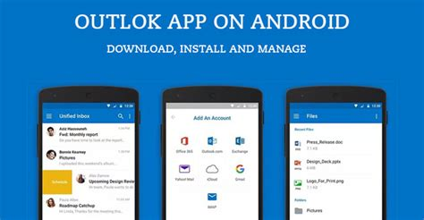 outlook mobile app android outlook app on android how to install and manage