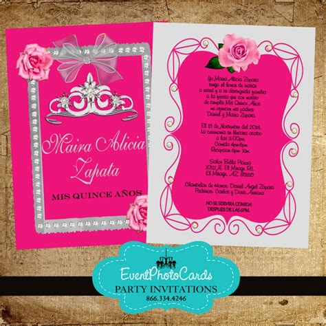 pink roses silver quinceanera invitations
