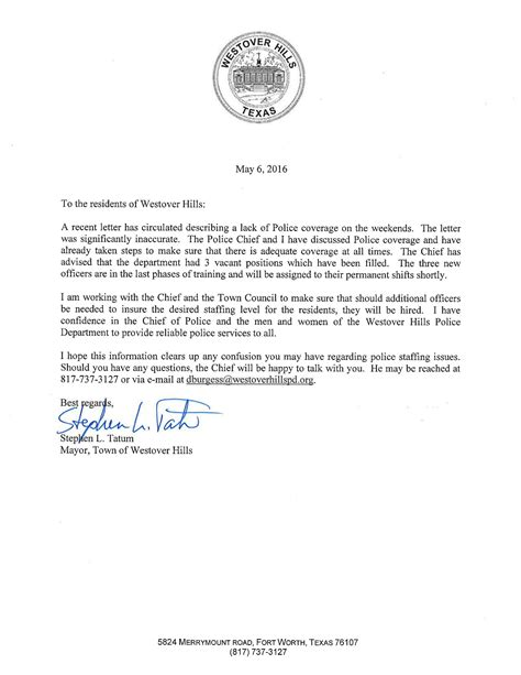 Petition Letter To Mayor Town Of Westover Mayor S Letter On Services