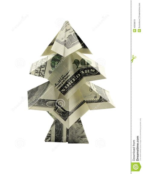 christmas tree made of hundred dollar stock photo image