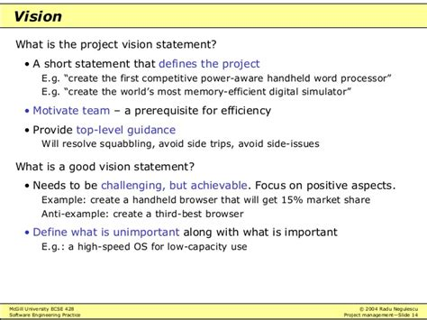 project vision template software engineering practice project management