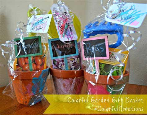Homemade Flower Pots Ideas creating a colorful garden gift basket using crayola