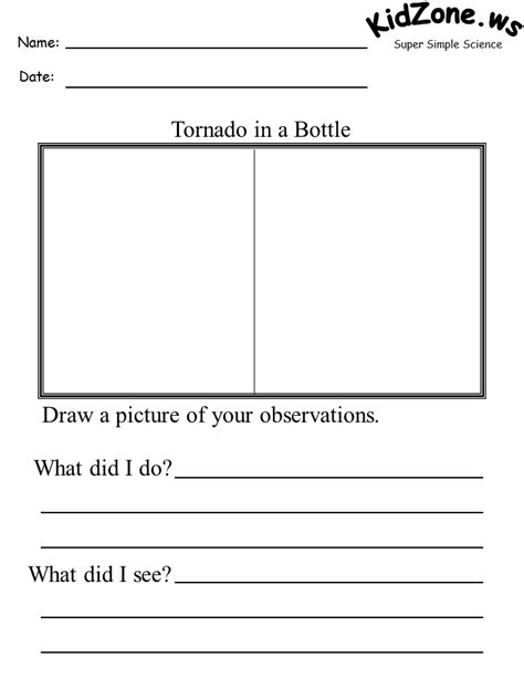 worksheets on tornadoes tornado in a bottle activity sheet