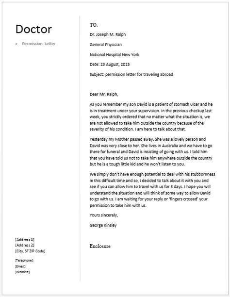 request letter to doctor sle doctor permission letter free sle letters