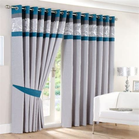 Grey And Teal Curtains Faux Silk Eyelet Ring Border Lined Curtains Teal Silver Grey Pair 40 Ebay Bedding