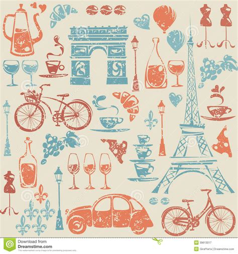 travel pattern in french seamless pattern with paris france elements stock