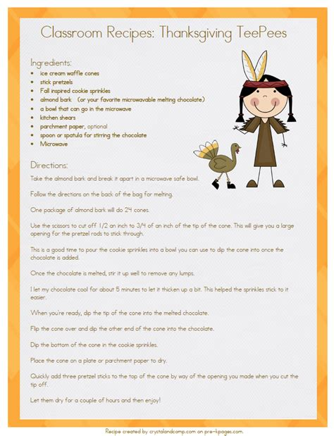 printable thanksgiving recipes recipe pre k pages