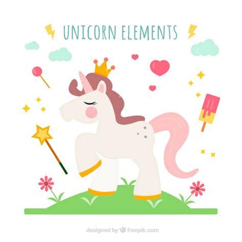 imagenes de unicornios tiernos rey unicornio con elementos bonitos descargar vectores