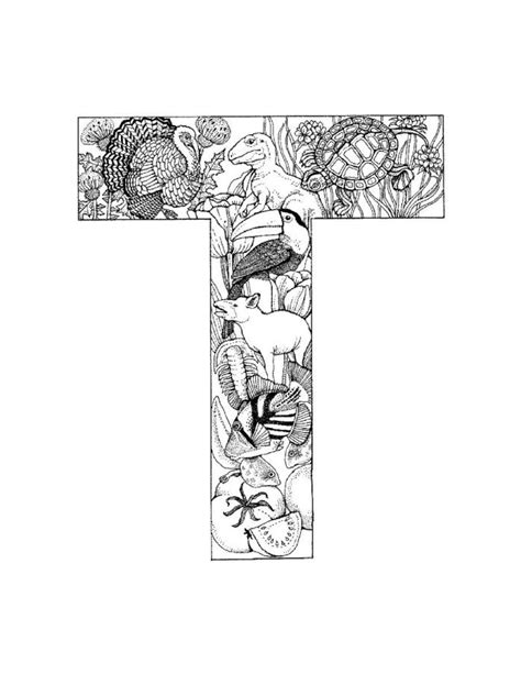 coloring pages for adults letter t alphabet coloring pages