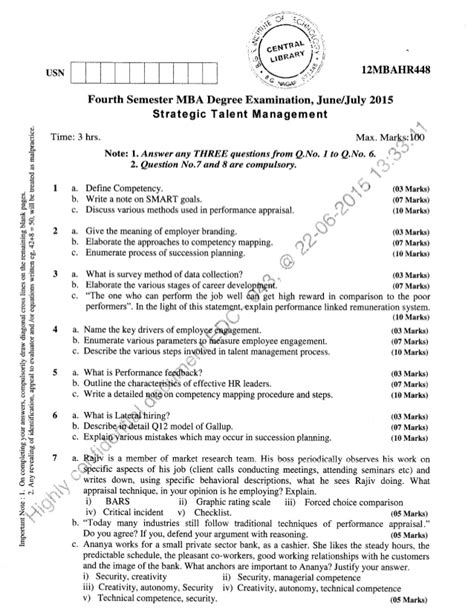 Hr Questions For Mba by 4th Semester Mba June 2015 Question Papers