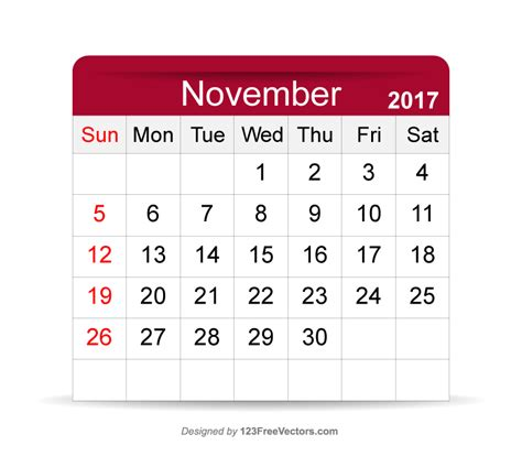 Calendar Template November 2017 Editable Editable Calendar November 2017 By 123freevectors On