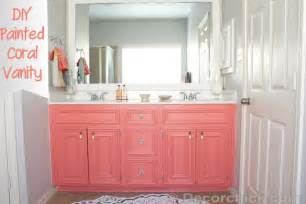 Colored Bathroom Vanity Diy Painted Coral Vanity Decorchick