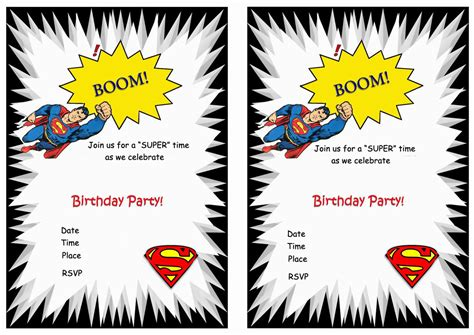 printable superman party decorations superman free printable birthday party invitations