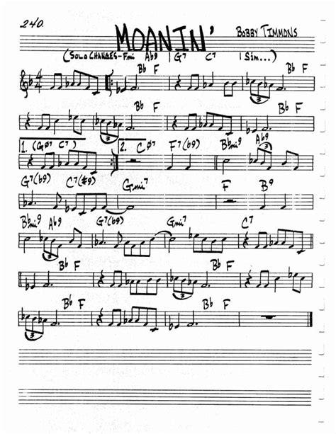 moanin lead sheet chord changes moanin guitarcats