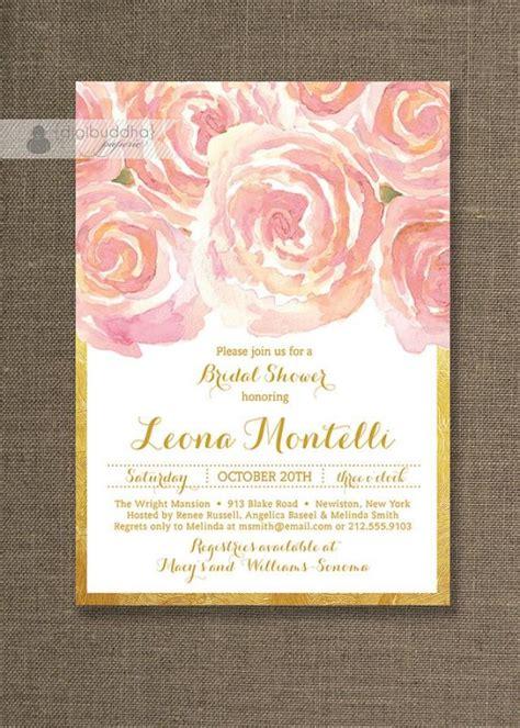 blush pink gold bridal shower invitation roses shabby chic