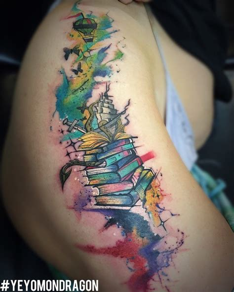 book and tree tattoos www pixshark images tale book theme watercolor by yeyo mondragon