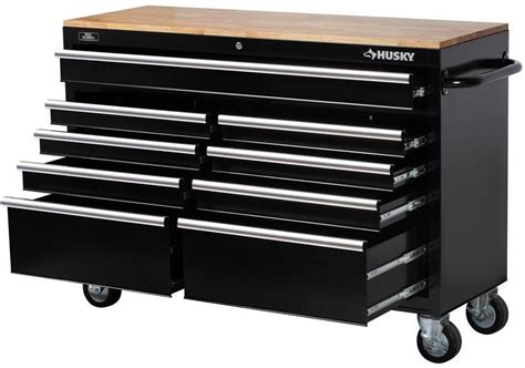 husky tool bench storage 9 drawer mobile power tools rolling casters