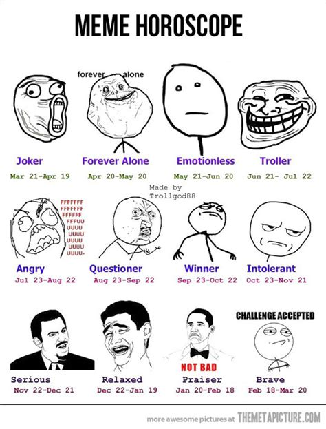 Internet Meme Face - choose your horoscope the meta picture