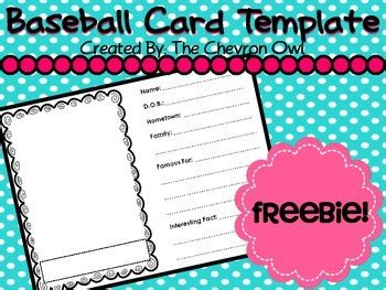 Make Your Own Baseball Cards Template by Baseball Card Template Freebie By The Chevron Owl Tpt