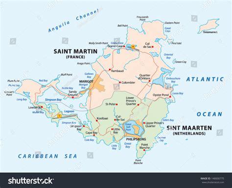 st map road map sint maartensaint martin stock vector 148000775