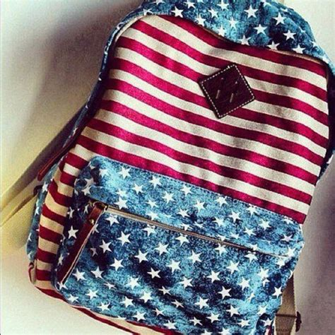 Tas Fossil Converse Backpack 2in1 bag backpack stripes american flag white