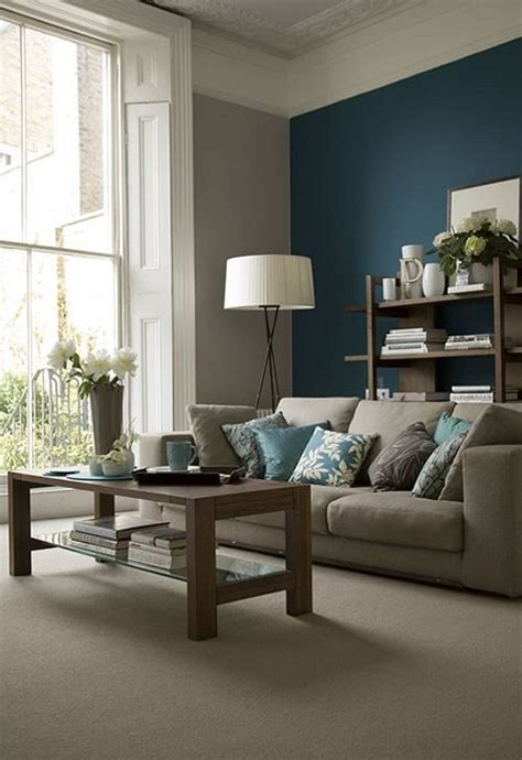 living room accent wall color ideas 26 cool brown and blue living room designs digsdigs