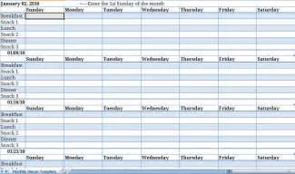 Menu Planner Template Excel by Monthly Meal Planner