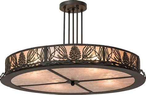 Rustic Lights Fixtures Meyda 177220 Mountain Pine Rustic Silver Mica Flush Ceiling Light Fixture Mey 177220