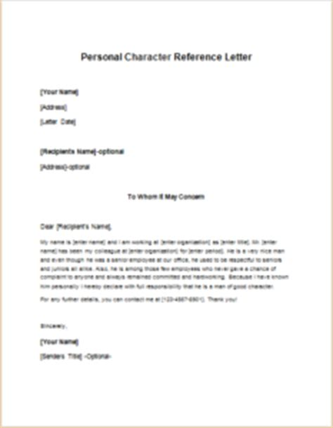 Character Reference Letter Questions Personal Character Reference Letter Template Writeletter2