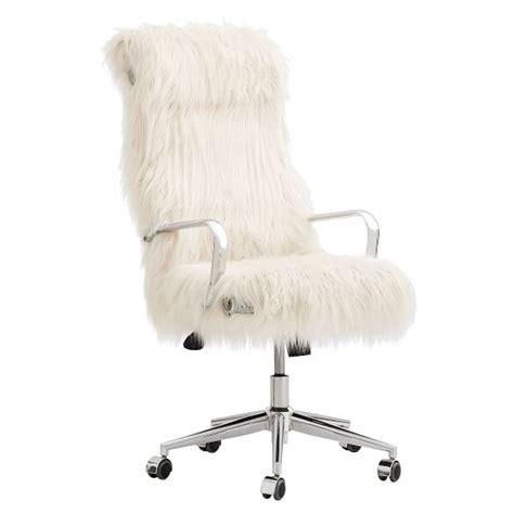 faux fur desk chair ivory himalayan faux fur desk chair pbteen