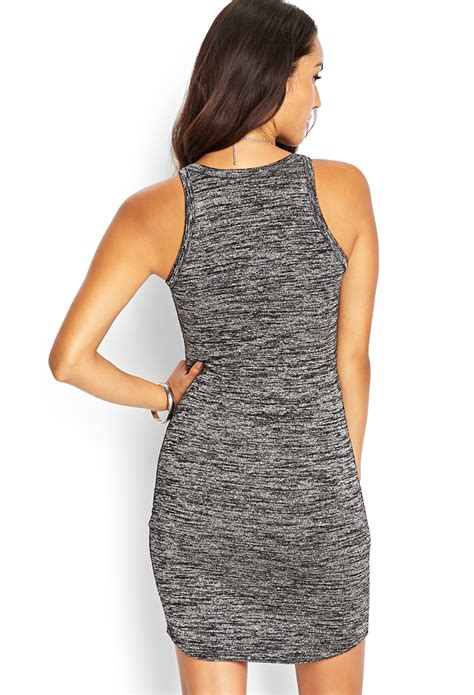 knit tank dress forever 21 marled knit tank dress in black lyst