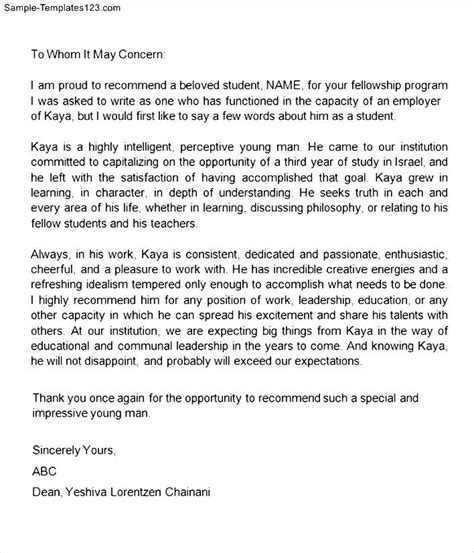 Recommendation Letter For College Student College Letter Of Recommendation For Student Sle Templates