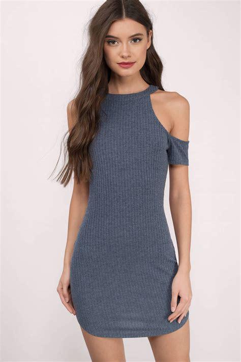 Id 2298 Blue Bodycon Dress navy dress cold shoulder dress pewter dress