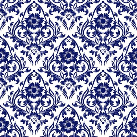 flower pattern design vector blue floral ornaments pattern seamless vector vector