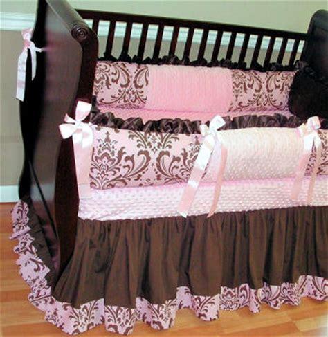 Pink And Brown Damask Crib Bedding Pink And Brown Nursery Walls