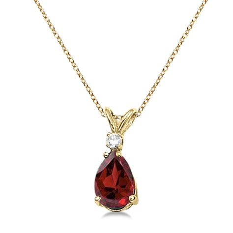 14k Gold Garnet Necklace pear garnet and solitaire pendant necklace 14k
