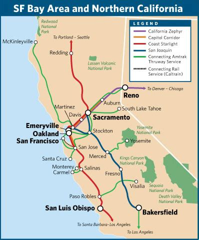 amtrak northern california map travel by in the san francisco bay area and northern