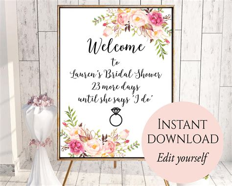 bridal shower welcome sign template friends and relatives records