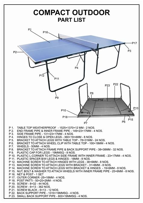 parts of a table table assembly