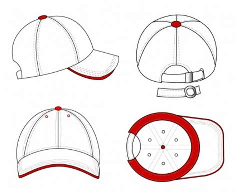 template fashion pakaian olahraga topi baseball template seragam topi topi sketsa