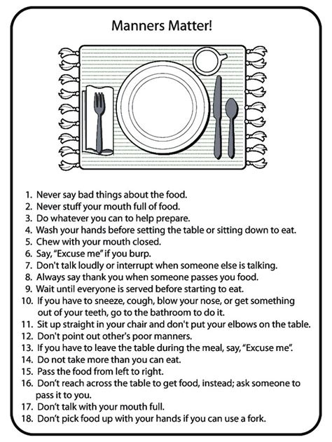 Table Manners Worksheet by Table Manners Crafts For