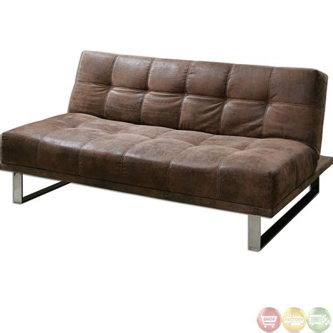 Futon Brown by Delvin Brown Synthetic Leather Convertible Futon Sofa 23145